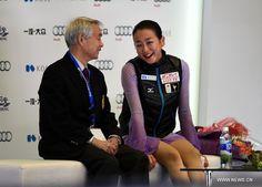 Mao Asada (R) of Japan reacts after the Ladies Free Skating program at the Audi Cup of China 2015 ISU Grand Prix of Figure Skating in Beijing, China, Nov. 7, 2015. (Xinhua/Guo Yong) (900×646) http://news.xinhuanet.com/english/photo/2015-11/07/c_134793436_4.htm