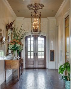 This foyer makes a statement! Find your home in the Chateau in Shelbyville, offered by Jane Hunter Hicks and Kim Brogli of Parks Realty. Find this sq foot home designed by Jack Arnold and Bobby McCloud in Foyer Furniture, Entryway Decor, Decoration Entree, Foyer Design, Entry Hallway, Celebrity Houses, House And Home Magazine, Farmhouse Design, Luxury Homes
