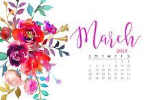 Floral March 2018 Wallpaper Calendar