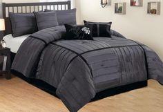 Amazon.com - 7 Pc Black & Grey / Chorcoal Faux Silk Checkered Comforter Set, Full Size -