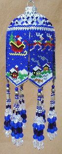 Santas Night Flight Beaded Ornament by Deb Moffett-Hall aka Patterns to Bead