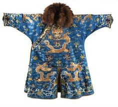 A 19th century Chinese silk winter Dragon robe.PhotoFlorence Number Nine