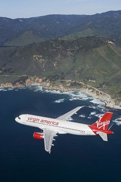 Virgin America livery flying over California, our hometown.