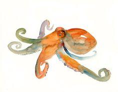 OCTOPUS by DIMDI  Original watercolor painting 10X8inch