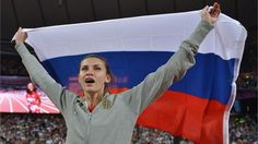 Anna Chicherova of Russia celebrates winning gold in the Women's High Jump Final on Day 15 of the London 2012 Olympic Games at Olympic Stadium