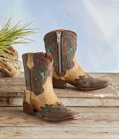 Mountain Bluebird Boots - embroidered leather boots with classic Western detailing, pull tabs and zippers.