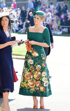 Lady Kitty Spencer in a Dolce & Gabbana Alta Moda dress at the Royal Wedding Of Meghan Markle and Prince Harry on May 19, 2018.