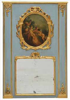ANTIQUE FRENCH TRUMEAU MIRROR  Could use pictures from Marie Antoinette frames??