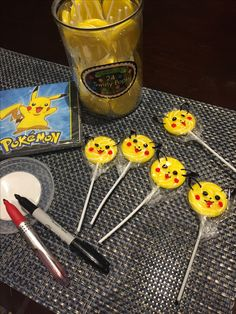 Making pikachu lollipops for my daughters birthday party loot bag