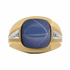 Diamond and Yellow Gold Men's Large Blue Star Sapphire Ring Available Exclusively at Gemologica.com