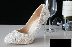 Flower Handmade Bridal Wedding Celebrity Pointed Toe Sparkle Crystal Bridal Heels Shoes Shinny Heels
