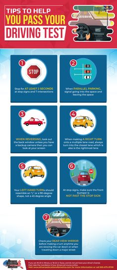 Tips To Help You Pass Your Driving Test [Infographic] Driving Tips For Beginners, Driving Basics, Driving Test Tips, Passed Driving Test, Drivers License Test, Drivers Permit, Bad Drivers, Driver's License, Driving Teen