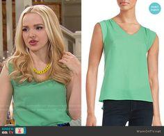 Liv's green top on Liv and Maddie.  Outfit Details: https://wornontv.net/64114/ #LivandMaddie