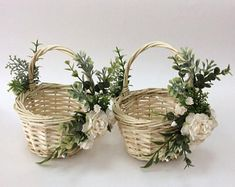 This item is unavailable - Alyssa and Jacob - Rustic Flower Girls, Rustic Flowers, Faux Flowers, Red Flower Crown, Wedding Gift Baskets, Rustic Baskets, Wedding Champagne Flutes, Flower Girl Basket, Basket Decoration