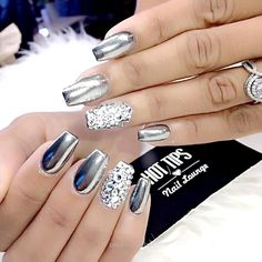 chrome with diamond nail art bmodish…