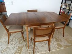 Mid Century Drexel Projection Dining Table With 4 Chairs Danish Modern  Eames Era