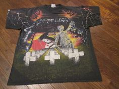 Metallica Collage All Over print Double Sided Original Vintage Tour T Shirt 90s Large RARE BUY IT NOW FREE SHIPPING