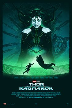 Thor Ragnarok Movie Poster 2017 in a cool Neon Green Color, Check out the 21 Thor Ragnarok Easter Eggs - DigitalEntertainmentReview.com