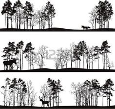 silhouettes: set of different landscapes with pine trees and wild animals, forest silhouettes with deer, elk, fox, hand drawn vector illustration