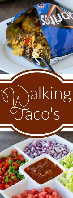 Walking Taco Bar Recipe - Great dinner for a crowd and no clean up!
