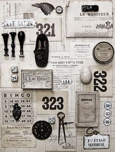 Moodboard With Vintage And Antique Elements. Things Organized Neatly, Vintage Love, Vintage Graphic, Shabby Vintage, Vintage Paper, Vintage Decor, Vintage Black, Graphic Design Inspiration, Inspiration Boards