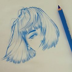 Windswept. Blue Red and Black Line Portrait Sketches. By Rik Lee.