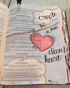 "My newest obsession:  Bible Journaling!! What a wonderful way to spend time in God's word. ❤️ ""Create in me a clean heart."" Psalm 51:10  #biblejournaling #bibleart #bibleverse #psalm51"