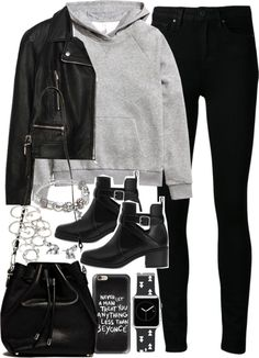 Outfit for college by ferned featuring stud earringsH M grey top, 31 AUD / Zara motorcycle jacket, 140 AUD / Paige Denim black skinny jeans, 510 AUD / Pull&Bear black booties, 46 AUD / Proenza Schouler black handbag, 1 945 AUD / Casetify black and white jewelry, 100 AUD / Pandora charm jewelry, 94 AUD / Lonna & Lilly stud earrings, 26 AUD / Forever 21 jewelry, 7.24 AUD / Casetify iphone case, 58 AUD