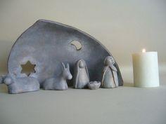 Crèche de Noël stylisée en terre cuite patinée #diypottery #diy #pottery #ceramics