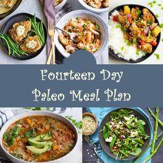 Fourteen Day Paleo Meal Plan Plus Simple Food Planner - Paleo Diet Vegetarian Recipes Videos, Good Healthy Recipes, Paleo Recipes, Seafood Recipes, Paleo Meal Plan, Paleo Diet, Baked Chicken Recipes, Meals For The Week, Meal Planning
