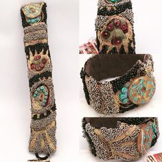 GB Design... machine stitched and beaded cuff #embroiderybracelets
