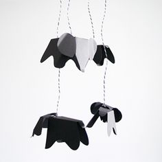 A simple but beautiful DIY mobile, made from mini paper replicas of the Eames Elephant