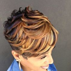 27 Piece Hairstyles, Quick Weave Hairstyles, Short Black Hairstyles, Pixie Hairstyles, Hairstyles Videos, Short Sassy Hair, Short Hair Cuts, Bold Haircuts, Curly Hair Styles