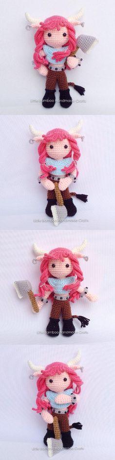 Taurus amigurumi pattern by Little Bamboo Handmade Amigurumi Doll, Amigurumi Patterns, Knitting Patterns, Crochet Patterns, Learn To Crochet, Crochet Dolls, Crochet Yarn, Yarn Dolls, Crochet Animals