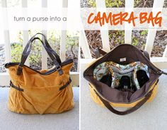 Turn a purse into a camera bag.