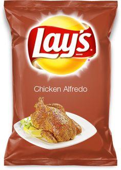 Chicken Alfredo  My idea for a new Lays potato chip flavor! Sound good? Vote me up please! AND REPIN!!
