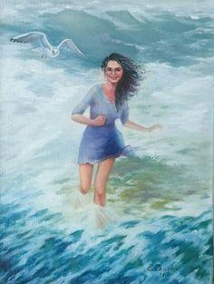 Girl and the sea, oilpainting, cm Sea, Water, Outdoor Decor, Painting, Gripe Water, Painting Art, The Ocean, Paintings, Ocean