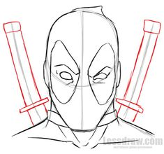 how to draw deadpool easy for beginners lessdraw