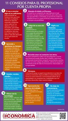 Consejos para ser un profesional por cuentra propia.  Con estos pasos lo conseguirás. #infografia #infographic #entrepreneurship