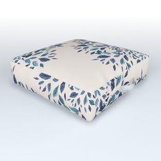 Indigo Leaves Mandala Outdoor Floor Cushion by elenor Outdoor Floor Cushions, Floor Pillows, Tree Roots, Indigo, Mandala, Yard, Weather, Comfy, Flooring