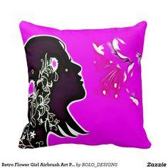 Retro Flower Girl Airbrush Art Plush Throw Pillow
