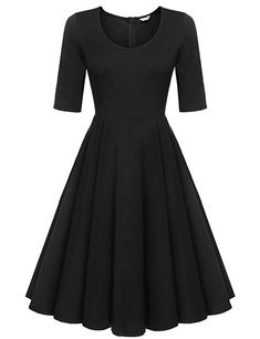 abc9e7409c ELESOL Women s A-Line 3 4 Sleeve Pleated Cocktail Party Swing Dress