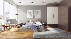 This sunny bedroom uses wood - on the floors, cabinetry, and furniture - to create a warm and welcoming feeling.