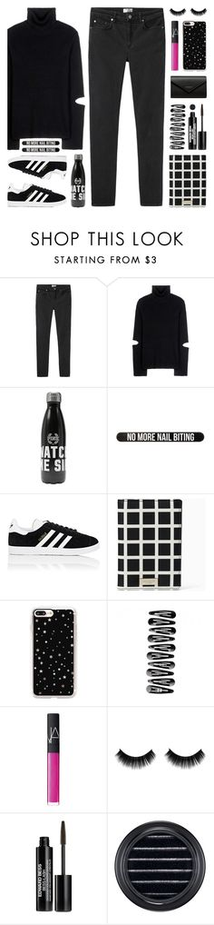 """Black & White + A Pop of Pink"" by lgb321 ❤ liked on Polyvore featuring Acne Studios, Public School, Bershka, adidas, Kate Spade, Casetify, NARS Cosmetics, Edward Bess, MAC Cosmetics and Balenciaga"