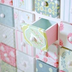 this it such a cute idea, decopage scrapbook paper to an apothocary cabinet, using one pattern for the fronts and a coordintating pattern for the sides making it look like a patchwork quilt.  With variety scrapbooking papers out there you can find anything to match with any decor...