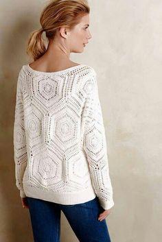 White crochet top pattern - PDF Pattern only - Crochet clothes Jumper Patterns, Clothing Patterns, Knitting Patterns, Crochet Motif, Crochet Pullover Pattern, Crochet Tops, Pull Crochet, Free Crochet, Crochet Free Patterns