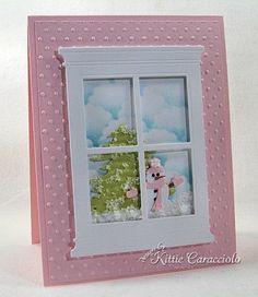 Snowman looking in Window Card