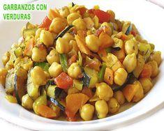garbanzos salteados con verduras al estilo marroquí Vegetarian Cooking, Vegetarian Recipes, Cooking Recipes, Good Healthy Recipes, Veggie Recipes, Delicious Recipes, Dinner For One, International Recipes, Food And Drink