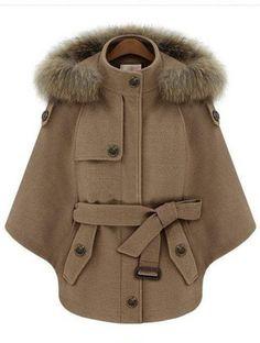 camel fur hooded batwing sleeve cape coat