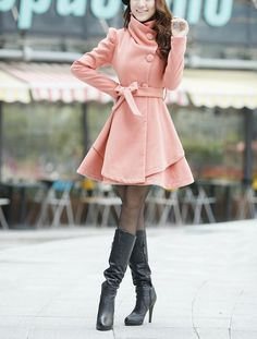 Pink Long Dress Spring Trench Coats Wool Cape by Trenchcoat Style, Mode Mantel, Cape Dress, Kawaii Clothes, Mode Hijab, Wool Dress, Spring Dresses, Coats For Women, Cute Dresses